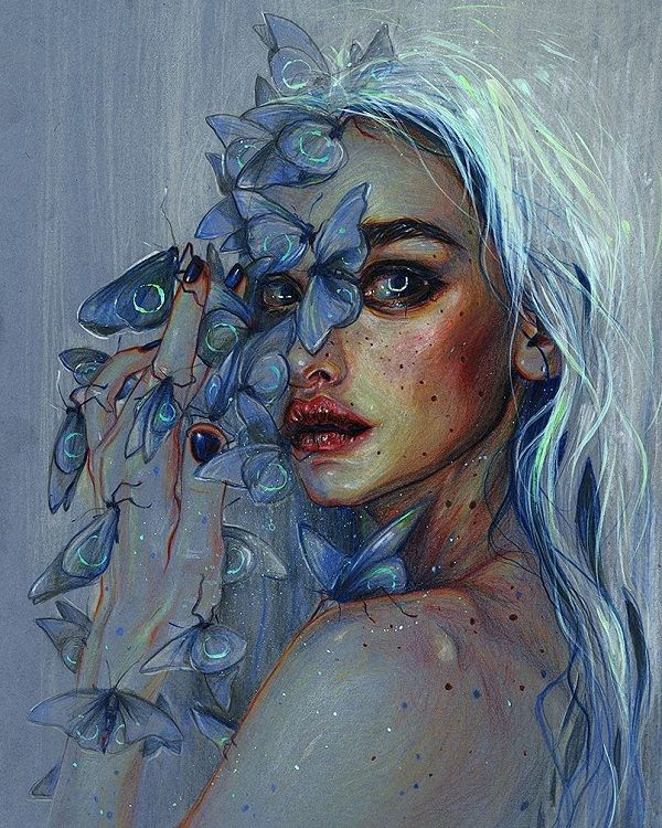 Blue Hair Girl By Tanya Shatseva, Acrylic Painting